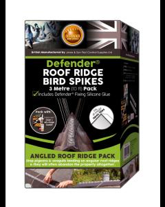 Defender® 3 meter fuglepigge til tagryg inkl. lim